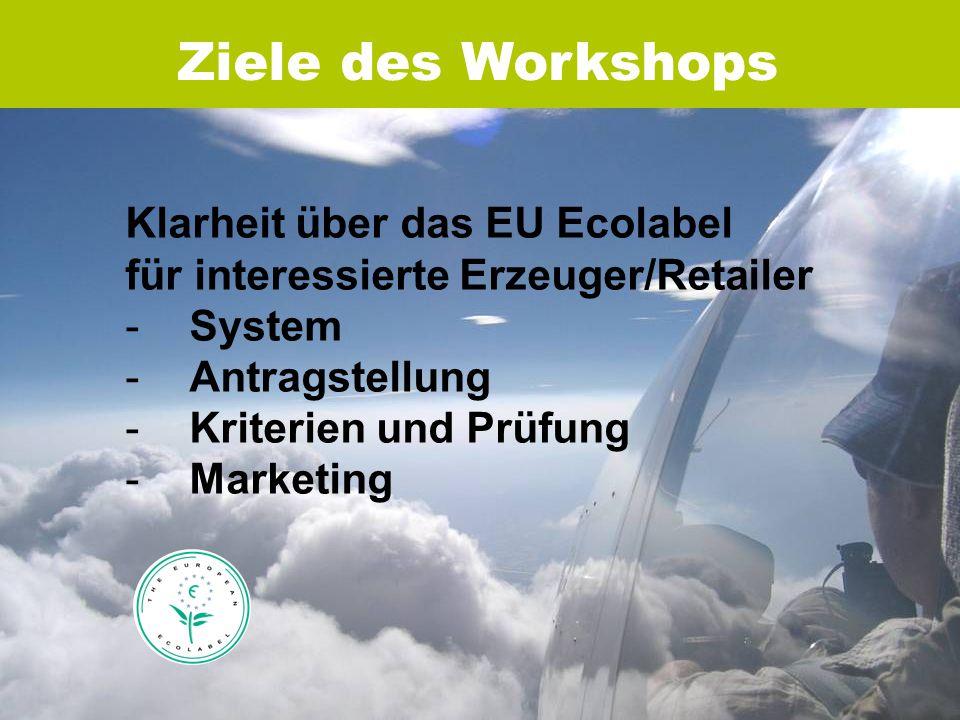Ziele des Workshops Klarheit über das EU Ecolabel für interessierte Erzeuger/Retailer -System -Antragstellung -Kriterien und Prüfung -Marketing