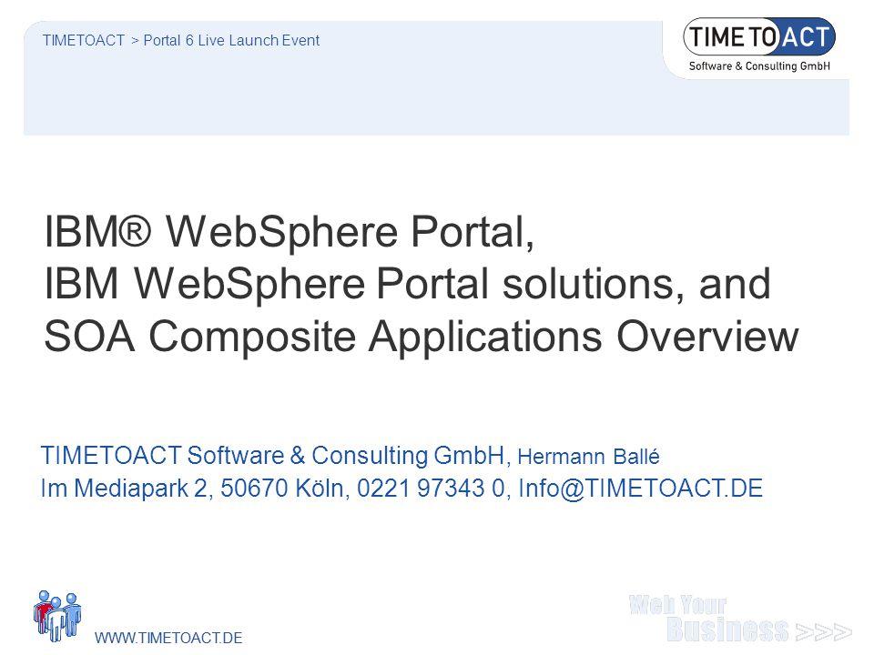 WWW.TIMETOACT.DE Seite 2 WebSphere Portal Websphere Application Server Websphere Portal Server Ihr Portal Workplace Messaging Ihr Portlets Workplace Documents Workplace Team Collab.