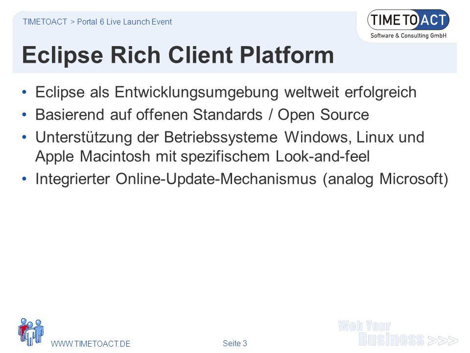 WWW.TIMETOACT.DE Seite 3 Eclipse Rich Client Platform Eclipse als Entwicklungsumgebung weltweit erfolgreich Basierend auf offenen Standards / Open Source Unterstützung der Betriebssysteme Windows, Linux und Apple Macintosh mit spezifischem Look-and-feel Integrierter Online-Update-Mechanismus (analog Microsoft) TIMETOACT > Portal 6 Live Launch Event