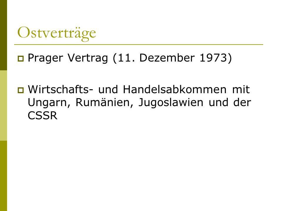 Ostverträge  Prager Vertrag (11. Dezember 1973)  Wirtschafts- und Handelsabkommen mit Ungarn, Rumänien, Jugoslawien und der CSSR