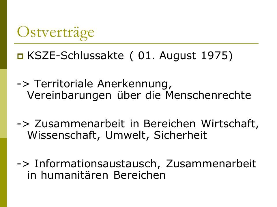 Ostverträge  KSZE-Schlussakte ( 01. August 1975) -> Territoriale Anerkennung, Vereinbarungen über die Menschenrechte -> Zusammenarbeit in Bereichen W