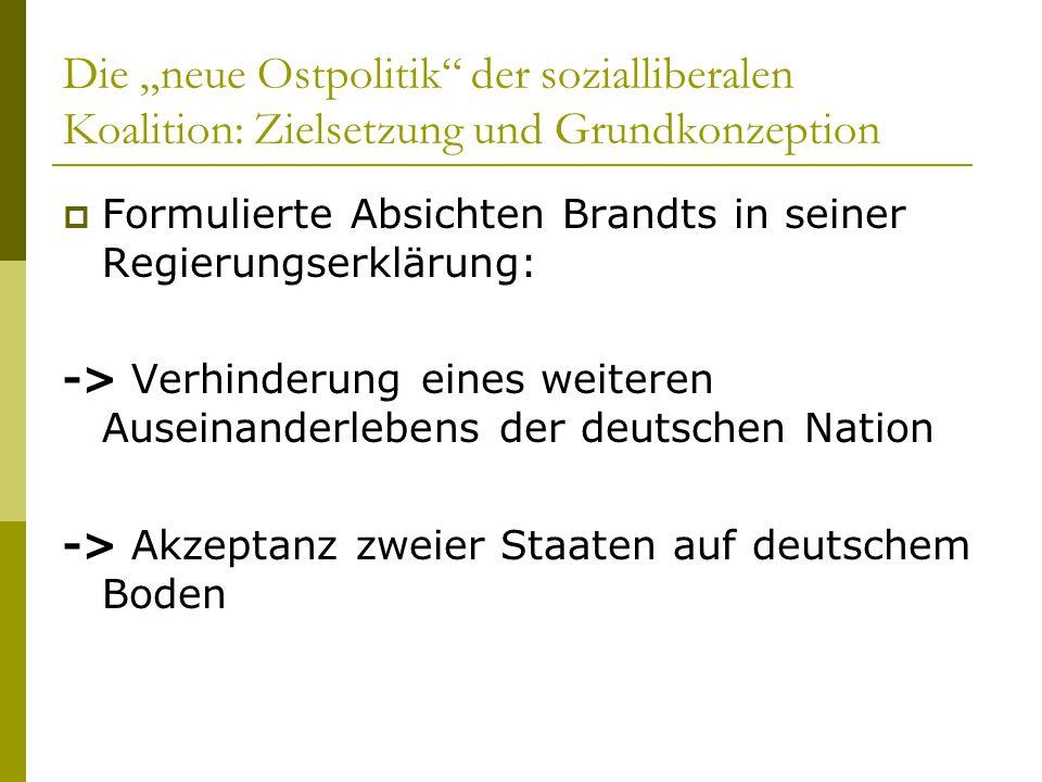 """Die """"neue Ostpolitik"""" der sozialliberalen Koalition: Zielsetzung und Grundkonzeption  Formulierte Absichten Brandts in seiner Regierungserklärung: ->"""