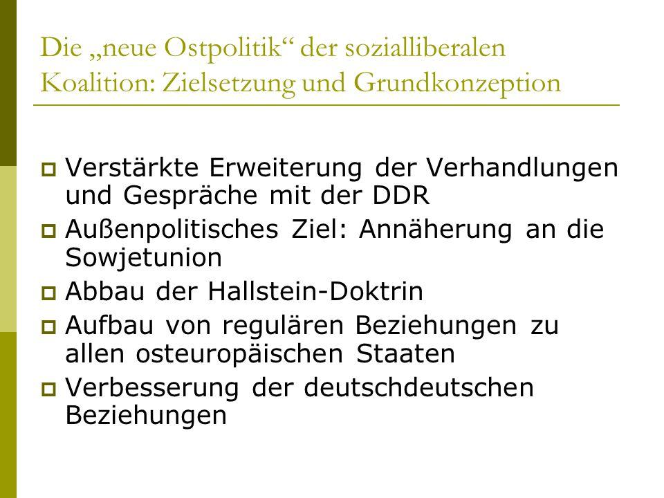 """Die """"neue Ostpolitik"""" der sozialliberalen Koalition: Zielsetzung und Grundkonzeption  Verstärkte Erweiterung der Verhandlungen und Gespräche mit der"""