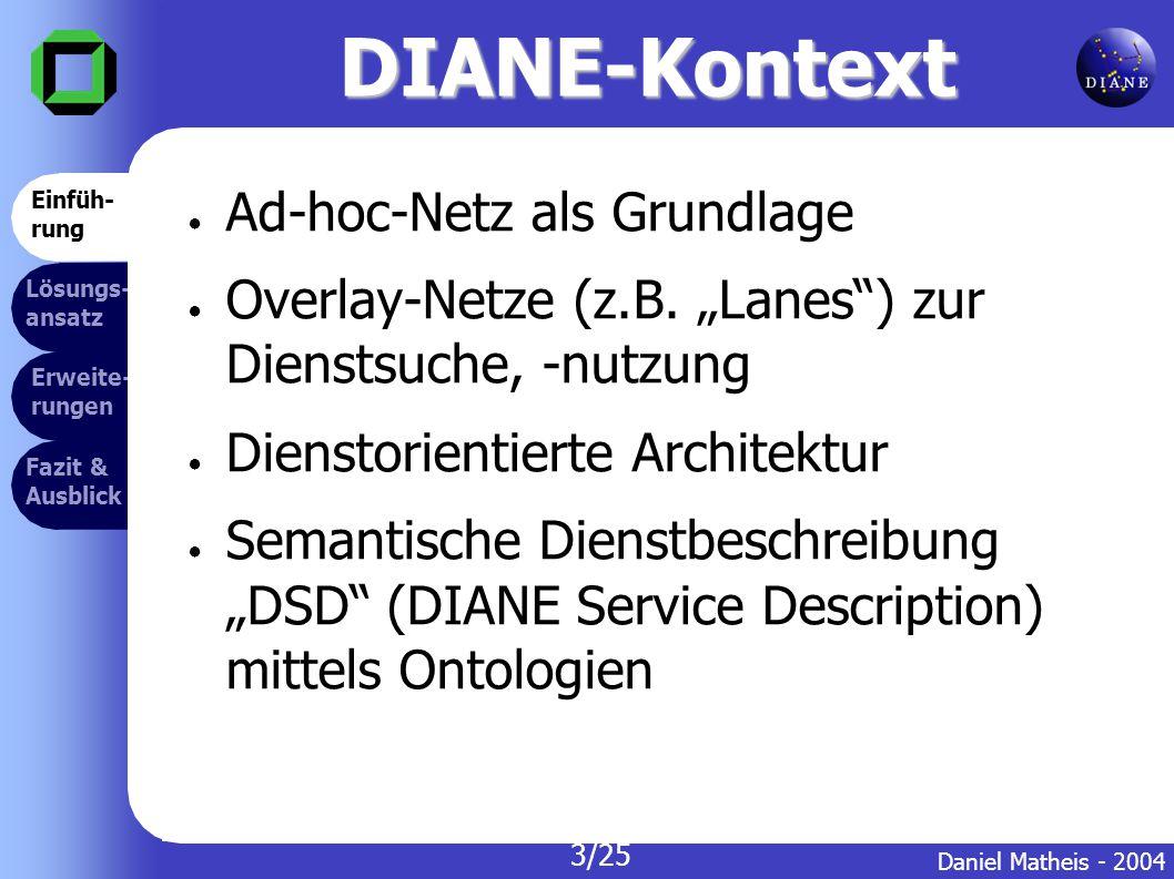 DIANE-Kontext Erweite- rungen Lösungs- ansatz Fazit & Ausblick ● Ad-hoc-Netz als Grundlage ● Overlay-Netze (z.B.