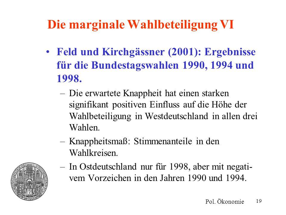 19 Die marginale Wahlbeteiligung VI Feld und Kirchgässner (2001): Ergebnisse für die Bundestagswahlen 1990, 1994 und 1998. –Die erwartete Knappheit ha
