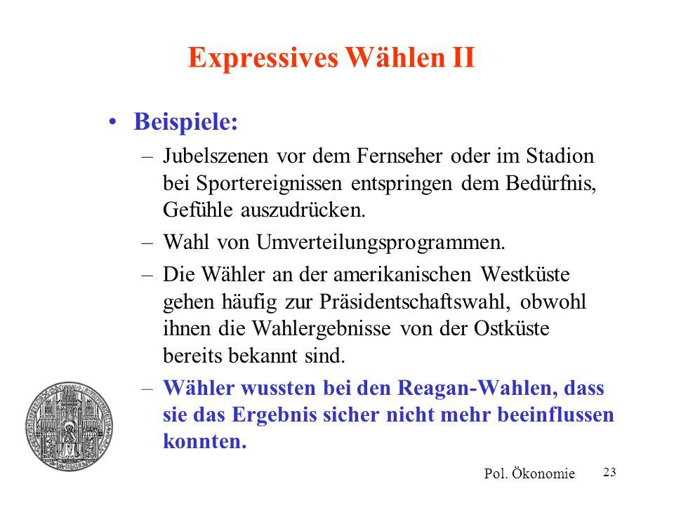 23 Expressives Wählen II Beispiele: –Jubelszenen vor dem Fernseher oder im Stadion bei Sportereignissen entspringen dem Bedürfnis, Gefühle auszudrücke