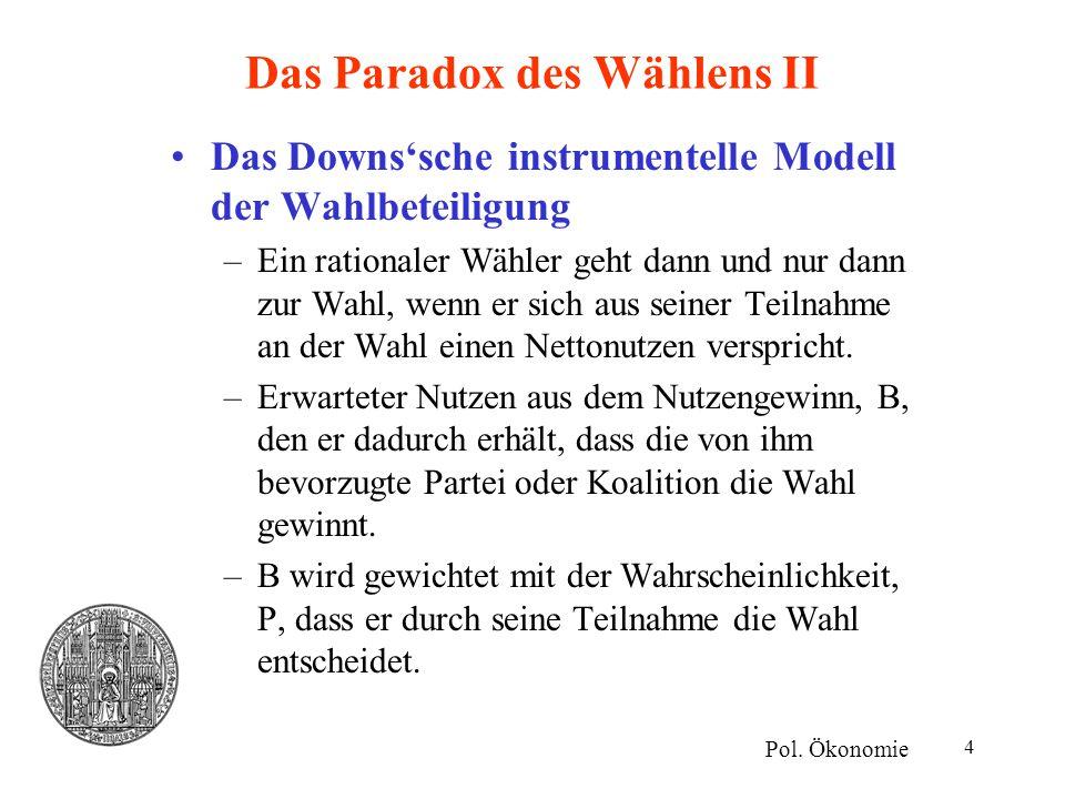 4 Das Paradox des Wählens II Das Downs'sche instrumentelle Modell der Wahlbeteiligung –Ein rationaler Wähler geht dann und nur dann zur Wahl, wenn er