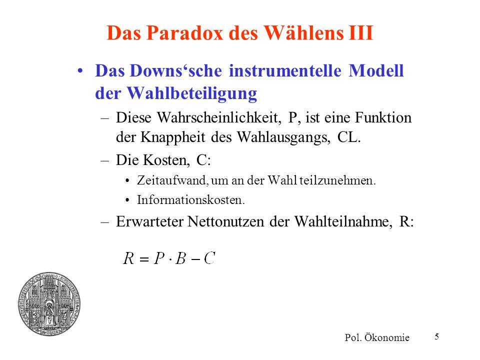5 Das Paradox des Wählens III Das Downs'sche instrumentelle Modell der Wahlbeteiligung –Diese Wahrscheinlichkeit, P, ist eine Funktion der Knappheit d