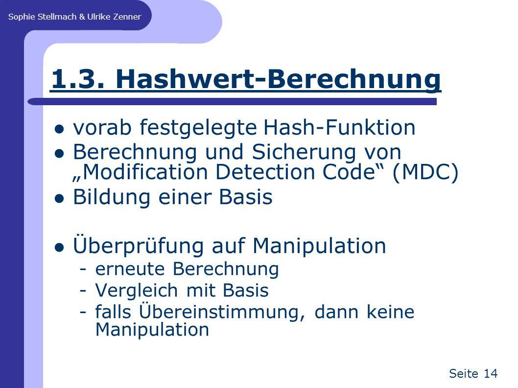 """Sophie Stellmach & Ulrike Zenner Seite 14 1.3. Hashwert-Berechnung vorab festgelegte Hash-Funktion Berechnung und Sicherung von """"Modification Detectio"""