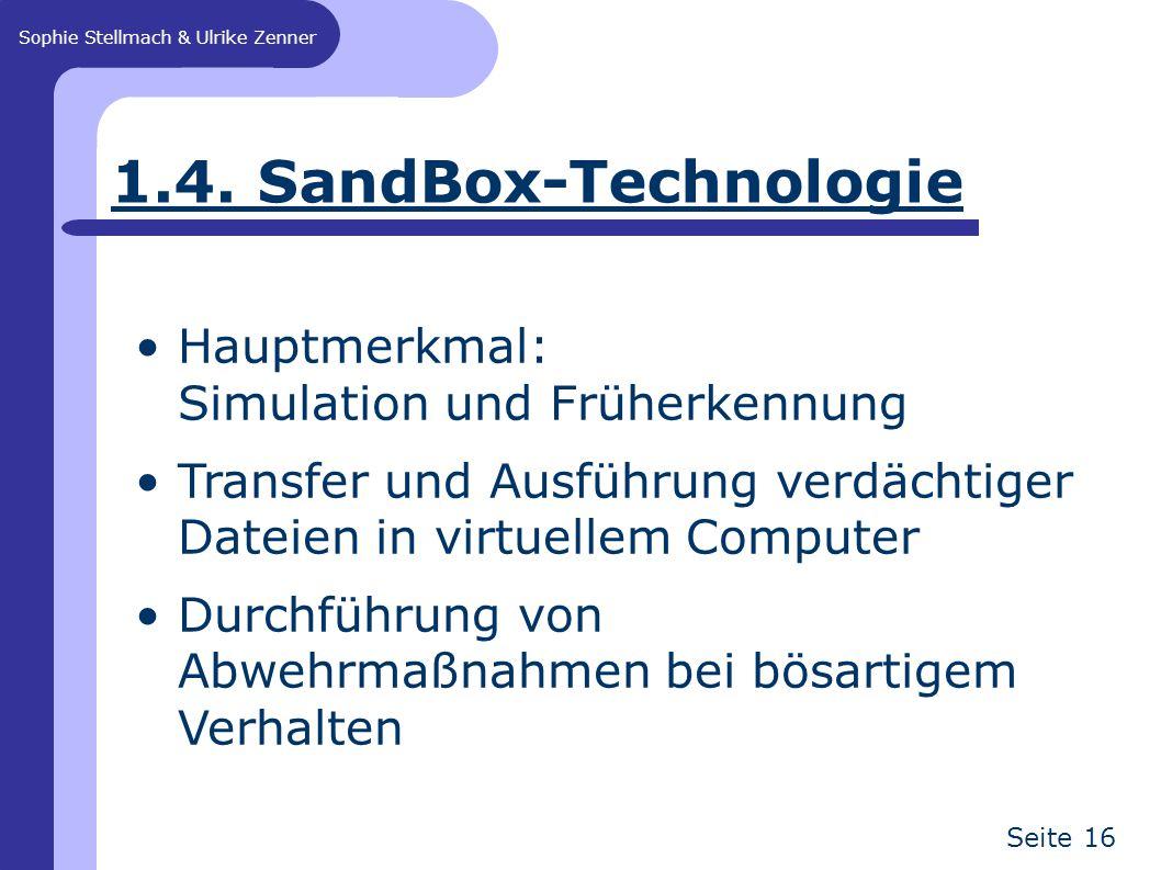 Sophie Stellmach & Ulrike Zenner Seite 16 1.4. SandBox-Technologie Hauptmerkmal: Simulation und Früherkennung Transfer und Ausführung verdächtiger Dat