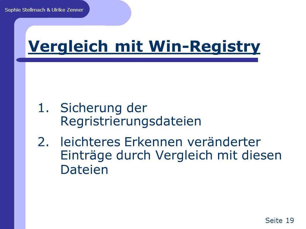 Sophie Stellmach & Ulrike Zenner Seite 19 Vergleich mit Win-Registry 1.Sicherung der Regristrierungsdateien 2.leichteres Erkennen veränderter Einträge