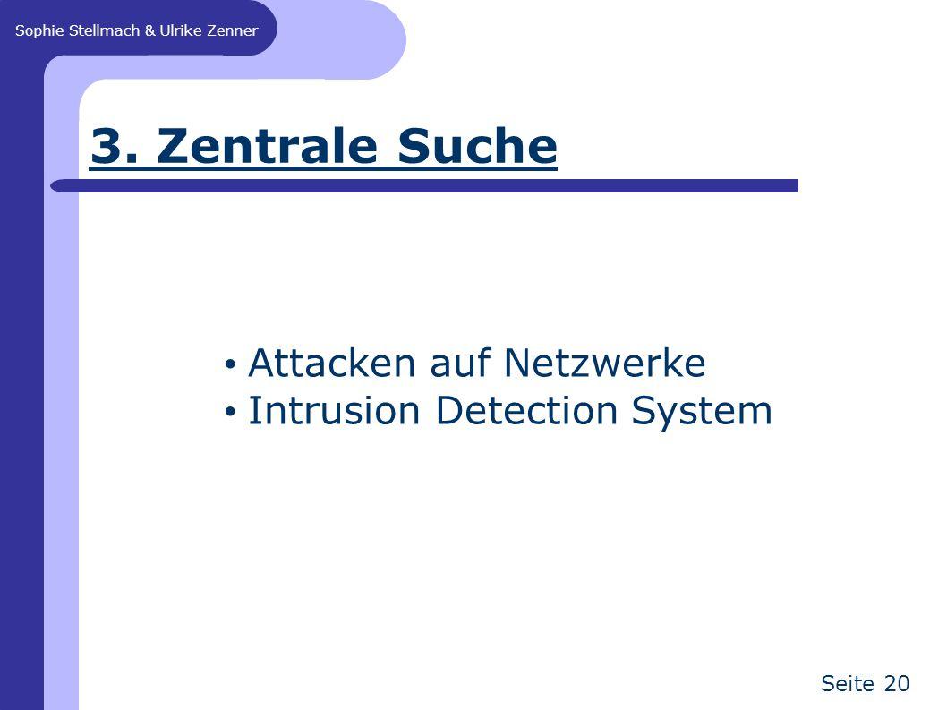 Sophie Stellmach & Ulrike Zenner Seite 20 3. Zentrale Suche Attacken auf Netzwerke Intrusion Detection System