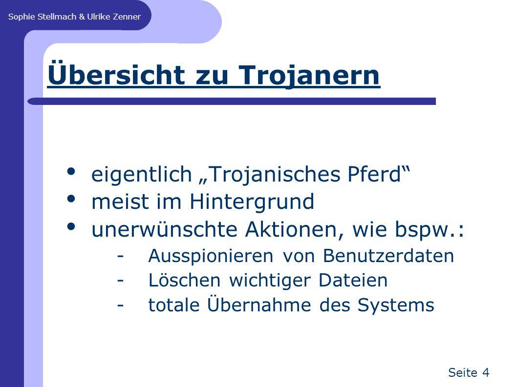 """Sophie Stellmach & Ulrike Zenner Seite 4 Übersicht zu Trojanern eigentlich """"Trojanisches Pferd meist im Hintergrund unerwünschte Aktionen, wie bspw.: -Ausspionieren von Benutzerdaten -Löschen wichtiger Dateien -totale Übernahme des Systems"""