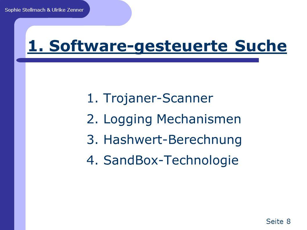 Sophie Stellmach & Ulrike Zenner Seite 8 1. Software-gesteuerte Suche 1. Trojaner-Scanner 2. Logging Mechanismen 3. Hashwert-Berechnung 4. SandBox-Tec