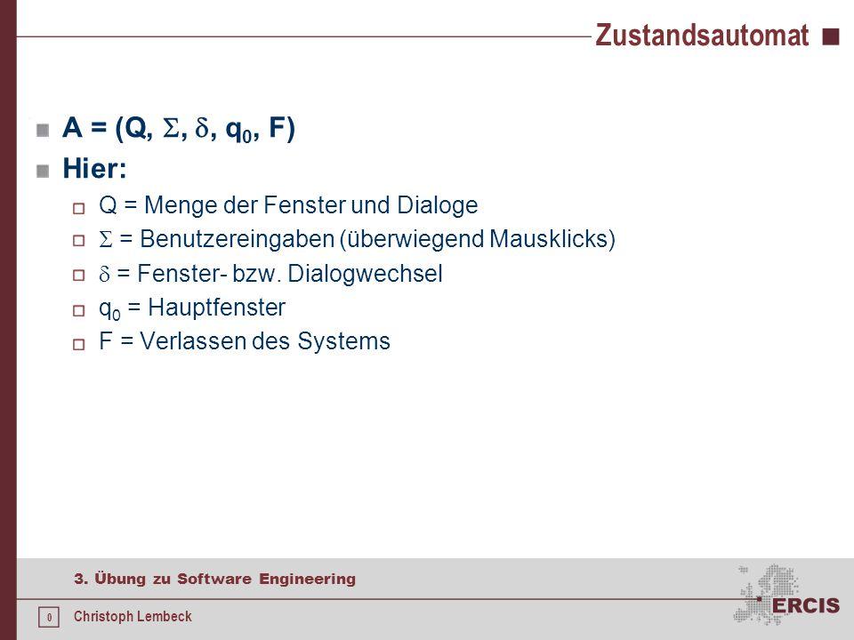 0 3. Übung zu Software Engineering Christoph Lembeck Zustandsautomat A = (Q, , , q 0, F) Hier: Q = Menge der Fenster und Dialoge  = Benutzereingabe