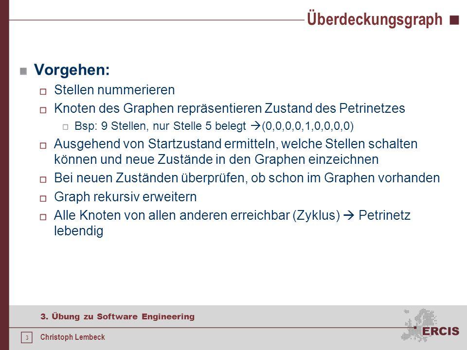 3 3. Übung zu Software Engineering Christoph Lembeck Überdeckungsgraph Vorgehen: Stellen nummerieren Knoten des Graphen repräsentieren Zustand des Pet