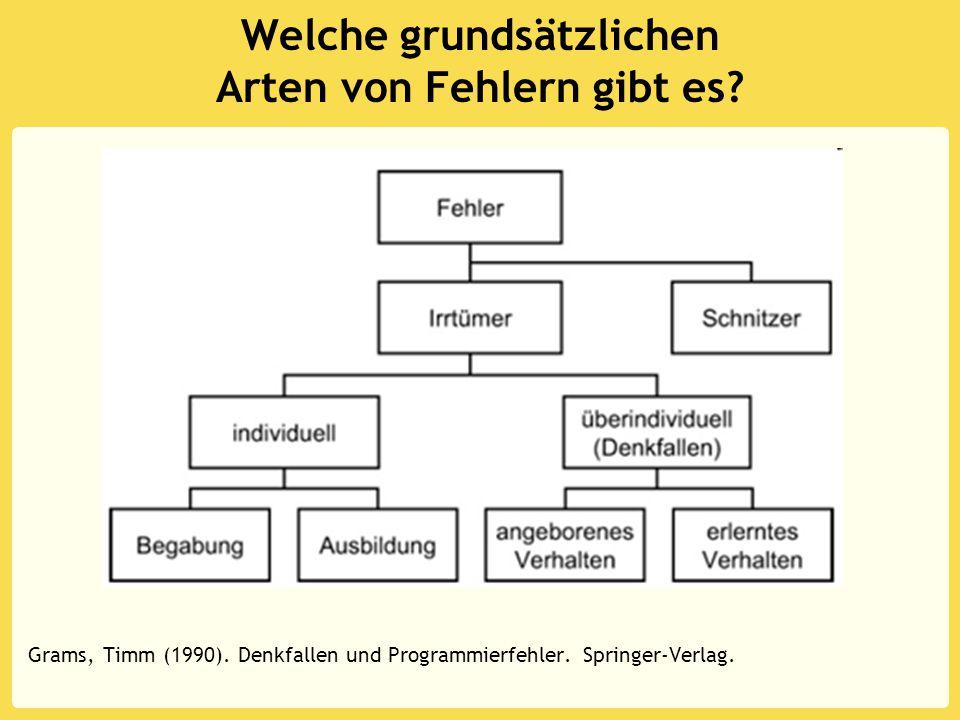 Welche grundsätzlichen Arten von Fehlern gibt es? Grams, Timm (1990). Denkfallen und Programmierfehler. Springer-Verlag.