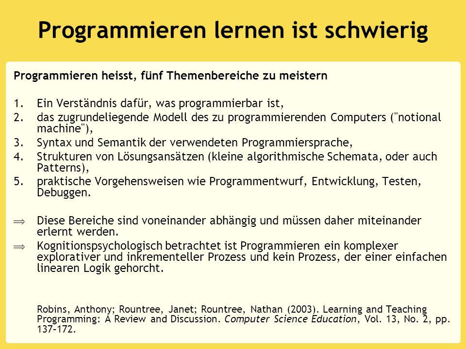 Programmieren lernen ist schwierig Programmieren heisst, fünf Themenbereiche zu meistern 1.Ein Verständnis dafür, was programmierbar ist, 2.das zugrundeliegende Modell des zu programmierenden Computers ( notional machine ), 3.Syntax und Semantik der verwendeten Programmiersprache, 4.Strukturen von Lösungsansätzen (kleine algorithmische Schemata, oder auch Patterns), 5.praktische Vorgehensweisen wie Programmentwurf, Entwicklung, Testen, Debuggen.