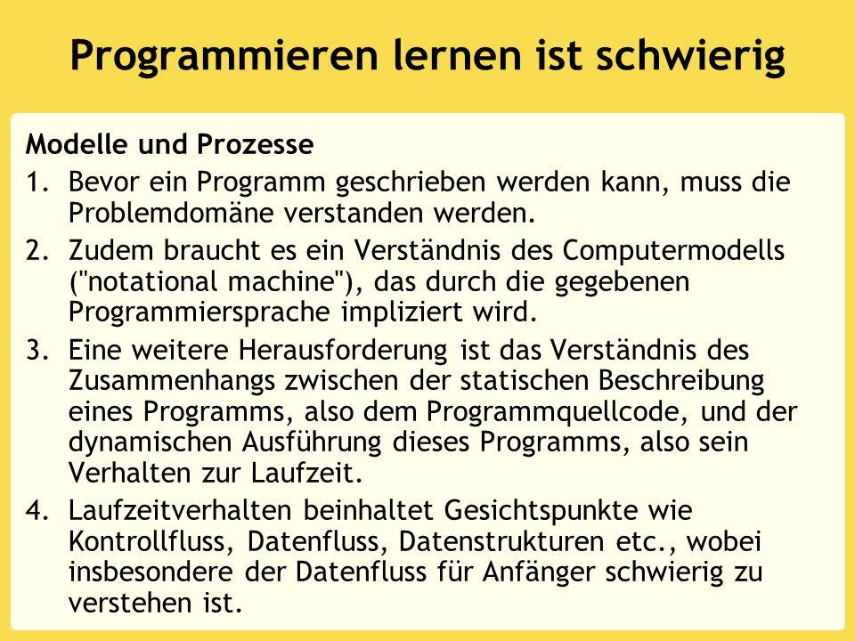 Programmieren lernen ist schwierig Modelle und Prozesse 1.Bevor ein Programm geschrieben werden kann, muss die Problemdomäne verstanden werden. 2.Zude