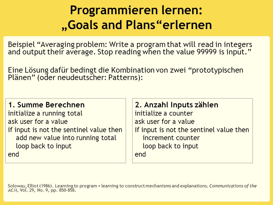 "Programmieren lernen: ""Goals and Plans erlernen Beispiel Averaging problem: Write a program that will read in integers and output their average."
