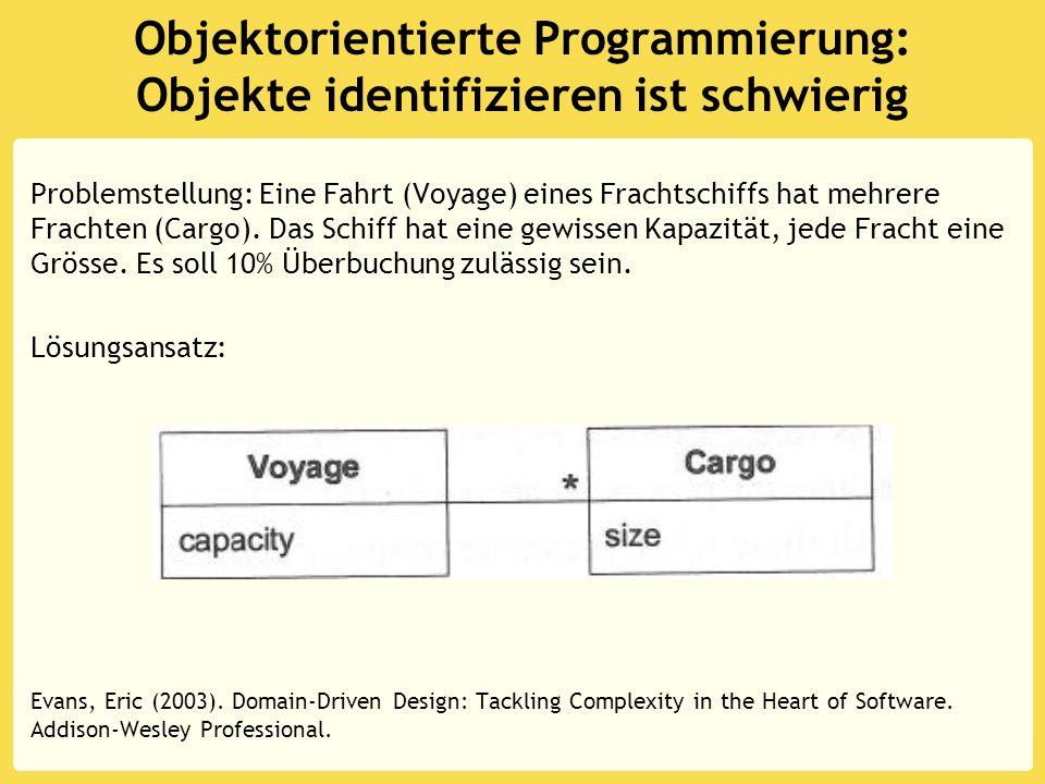 Objektorientierte Programmierung: Objekte identifizieren ist schwierig Problemstellung: Eine Fahrt (Voyage) eines Frachtschiffs hat mehrere Frachten (Cargo).