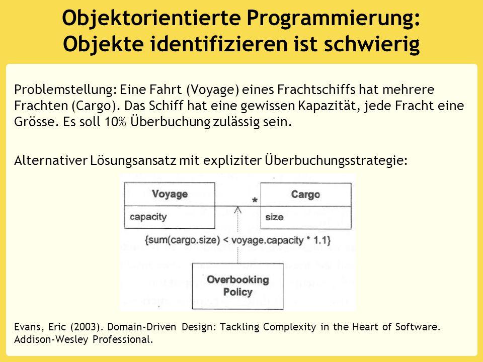Objektorientierte Programmierung: Objekte identifizieren ist schwierig Problemstellung: Eine Fahrt (Voyage) eines Frachtschiffs hat mehrere Frachten (