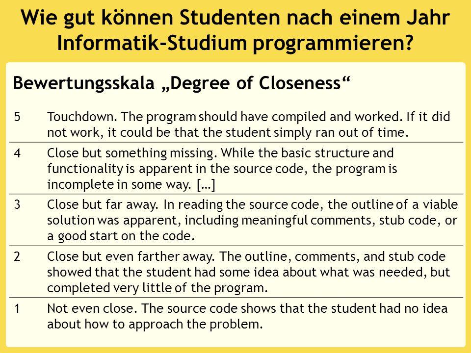 Wie gut können Studenten nach einem Jahr Informatik-Studium programmieren.