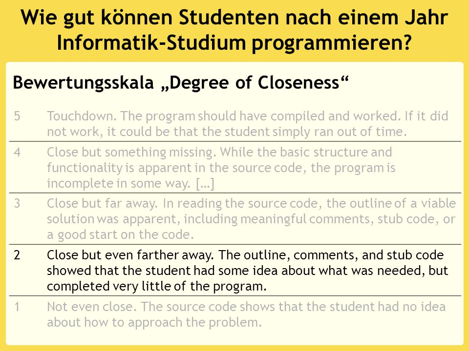 """Programmieren lernen: """"Goals and Plans erlernen Clevere Programme verwirren auch Experten: the performance of advanced programmers was reduced to that of novice programmers when the advanced programmers were asked to deal with programs that violated various rules of discourse Program Average VAR count : INTEGER; sum, average, number : REAL; BEGIN sum := -99999;....................."""