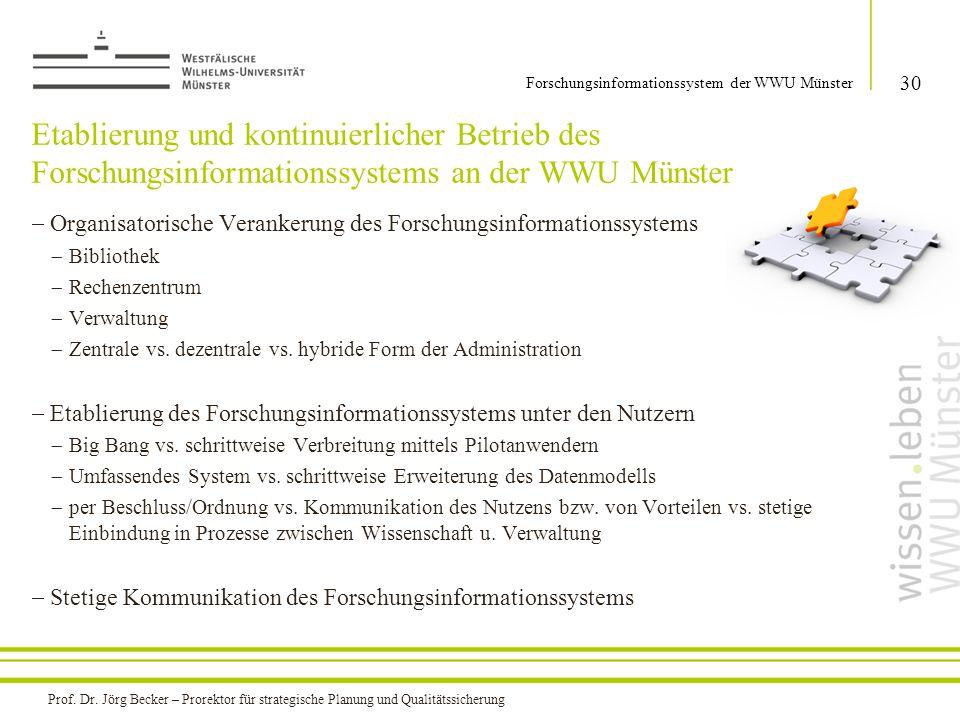 Etablierung und kontinuierlicher Betrieb des Forschungsinformationssystems an der WWU Münster  Organisatorische Verankerung des Forschungsinformation
