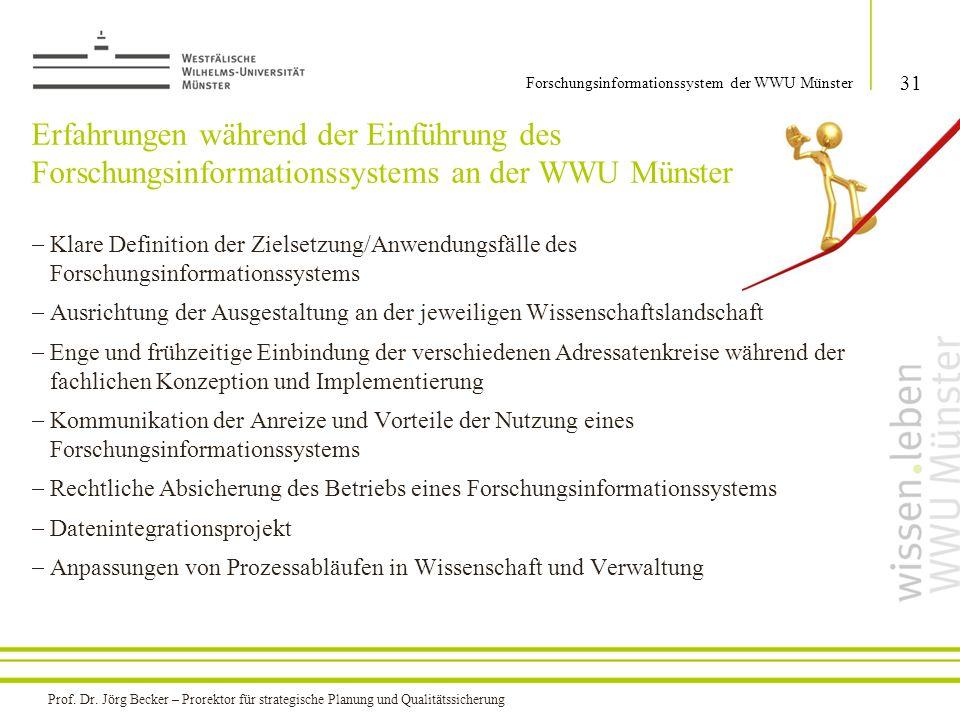 Erfahrungen während der Einführung des Forschungsinformationssystems an der WWU Münster  Klare Definition der Zielsetzung/Anwendungsfälle des Forschu
