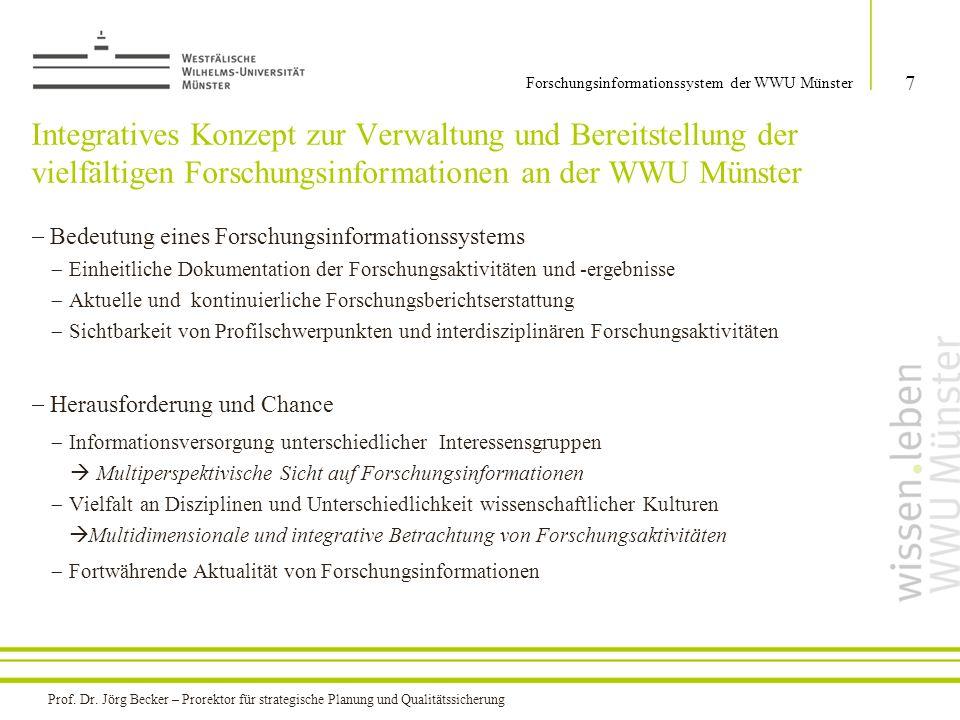 Integratives Konzept zur Verwaltung und Bereitstellung der vielfältigen Forschungsinformationen an der WWU Münster  Bedeutung eines Forschungsinforma