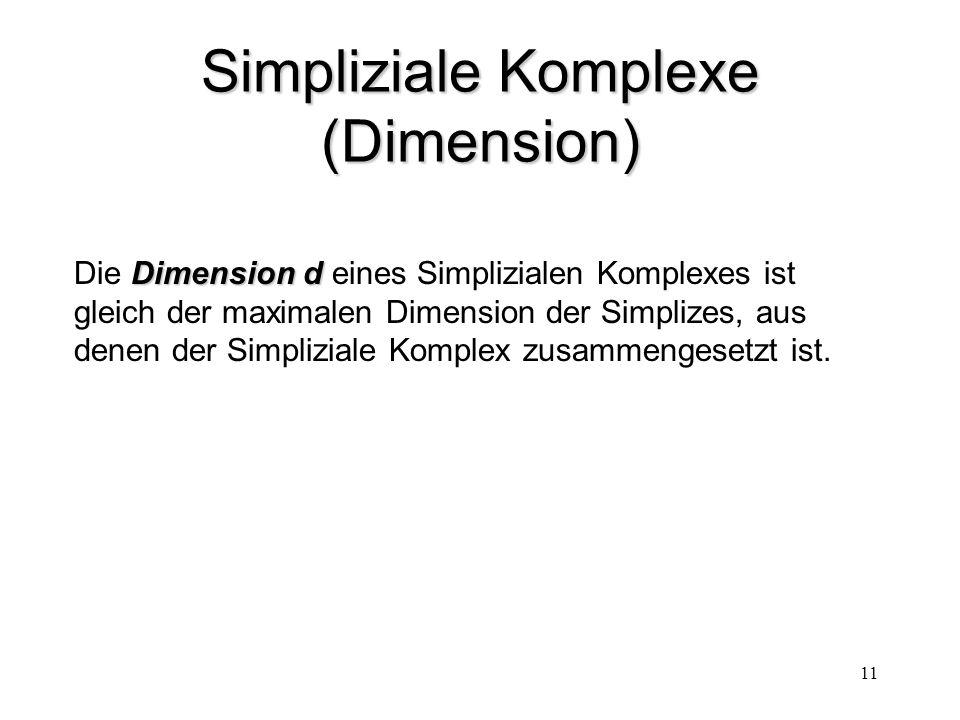 11 Simpliziale Komplexe (Dimension) Dimension d Die Dimension d eines Simplizialen Komplexes ist gleich der maximalen Dimension der Simplizes, aus den