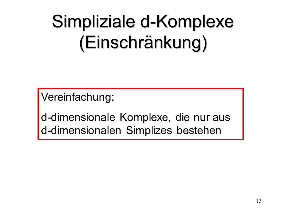 13 Simpliziale d-Komplexe (Einschränkung) Vereinfachung: d-dimensionale Komplexe, die nur aus d-dimensionalen Simplizes bestehen