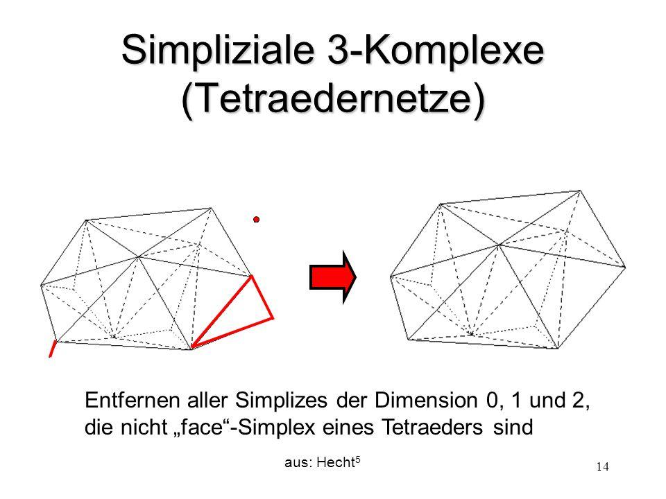 """14 Simpliziale 3-Komplexe (Tetraedernetze) aus: Hecht 5 Entfernen aller Simplizes der Dimension 0, 1 und 2, die nicht """"face""""-Simplex eines Tetraeders"""