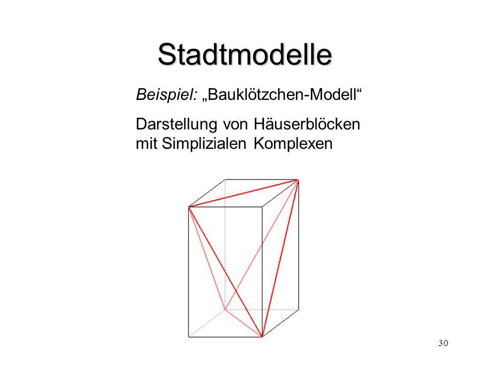 """30 Stadtmodelle Beispiel: """"Bauklötzchen-Modell"""" Darstellung von Häuserblöcken mit Simplizialen Komplexen"""
