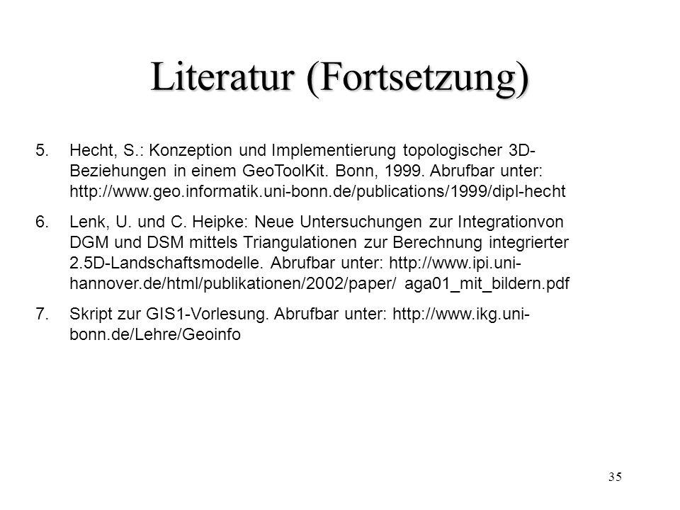 35 Literatur (Fortsetzung) 5.Hecht, S.: Konzeption und Implementierung topologischer 3D- Beziehungen in einem GeoToolKit. Bonn, 1999. Abrufbar unter:
