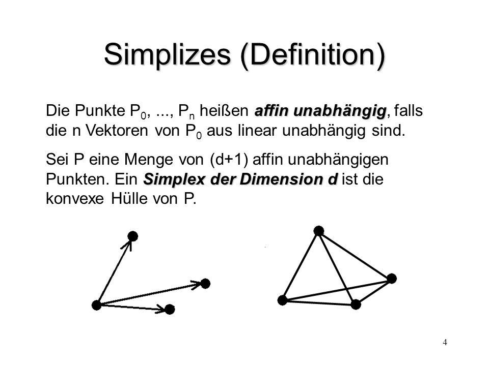 4 Simplizes (Definition) affin unabhängig Die Punkte P 0,..., P n heißen affin unabhängig, falls die n Vektoren von P 0 aus linear unabhängig sind. Si