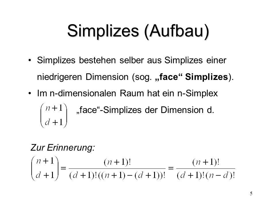 16 Erweiterung der Simplizialen Komplexe 3D-Darstellungen benötigen räumliche Information Umsetzung: Speichern von Topologie und Geometrie e-Komplex  e-Komplex (e = extended) Nachbarschaften Definition von Nachbarschaften