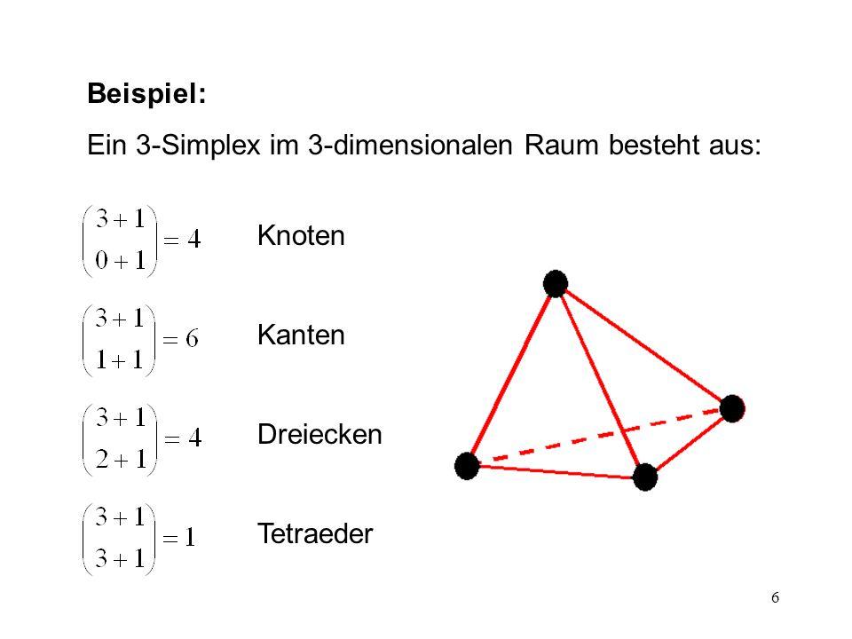 17 Nachbarschaften d-Simplex mit Nachbarschaft Ein d-Simplex mit Nachbarschaft (d > 1) besteht aus einem Simplex der Dimension d und maximal d+1 adjazenten Simplizes der Dimension d.