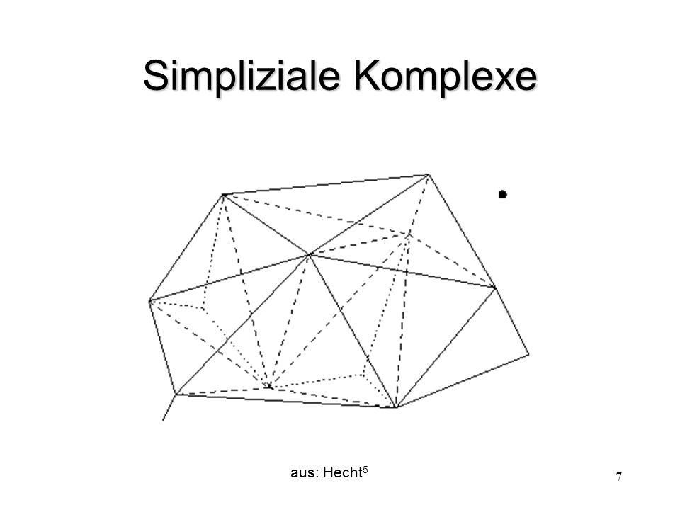 """8 Simpliziale Komplexe (Definition) (1)Der Schnitt zweier beteiligter Simplizes ist entweder leer oder ein """"face -Simplex beider Simplizes."""