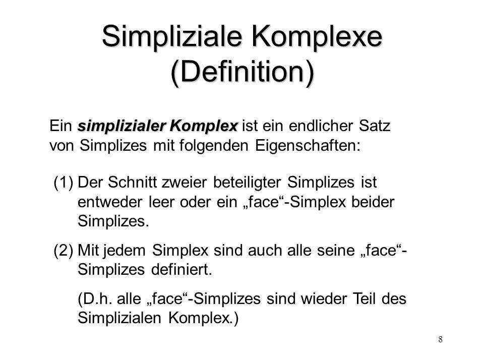 """8 Simpliziale Komplexe (Definition) (1)Der Schnitt zweier beteiligter Simplizes ist entweder leer oder ein """"face""""-Simplex beider Simplizes. (2)Mit jed"""
