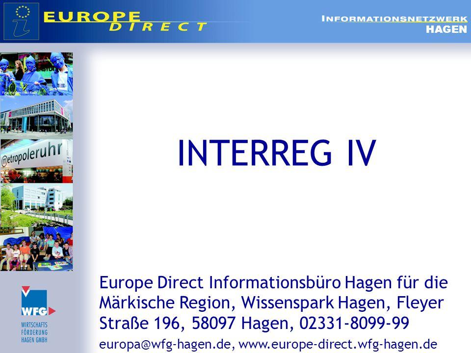  Inhalt  Ziel 3 – Territoriale Zusammenarbeit  INTERREG IV  INTERREG IV A  INTERREG IV B  INTERREG IV C  Praxisbeispiele:  CRII-Project (INTERREG III B)  CIB – Projekt (INTERREG IVB) HAGEN