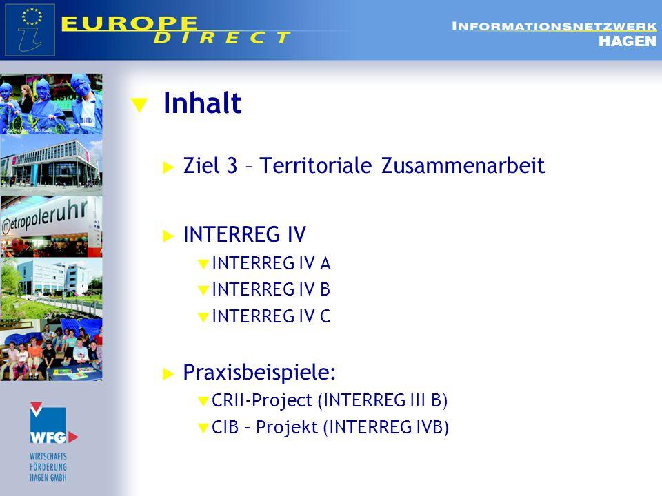  INTERREG IV B - Prioritäten  Umwelt:  Aktivitäten zur Wasserbewirtschaftung, Energieeffizienz,  Maßnahmen im Bereich der Risikoverhütung und des Umweltschutzes mit transnationaler Dimension.