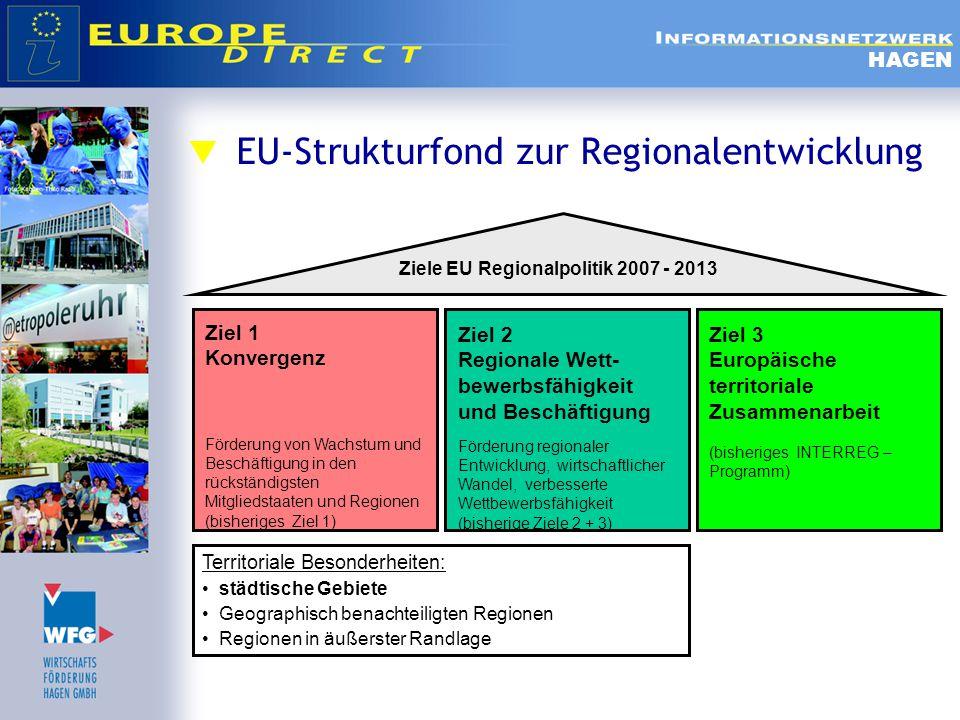  Ziel 3 Europäische Territoriale Zusammenarbeit  Ziel: Zusammenarbeit der Regionen über die Grenzen hinweg zu stärken  3 Förderstränge  A länderübergreifende Zusammenarbeit benachbarter Gebiete in Europa  B transnationale Zusammenarbeit bei der Raumentwicklung  C europaweiter Austausch von Informationen und Erfahrungen, um die Instrumente der Regionalpolitik zu verbessern HAGEN