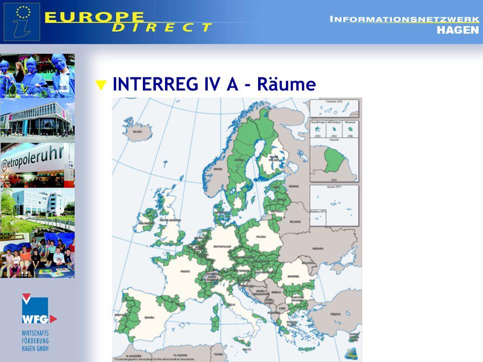  INTERREG IV A - Prioritäten  Förderung der unternehmerischen Initiative und insbesondere der Entwicklung von KMU, des Fremdenverkehrs, kultureller Tätigkeiten und des Grenzhandels;  Förderung und Verbesserung des gemeinsamen Schutzes und der Bewirtschaftung der natürlichen und kulturellen Ressourcen sowie die Verhütung von naturbedingten und technologischen Risiken;  Stärkung der Verbindungen zwischen städtischen und ländlichen Gebieten  Verringerung der Isolation durch einen besseren Zugang zu Verkehrs-, Informations- und Kommunikationsnetzen und – diensten sowie zu den grenzübergreifenden Wasser-, Abfallentsorgungs- und Energiesystemen und entsprechenden Anlagen;  Ausbau der Zusammenarbeit, der Kapazitäten und der gemeinsamen Nutzung von Infrastrukturen, insbesondere in Bereichen wie Gesundheit, Kultur, Tourismus und Bildung.