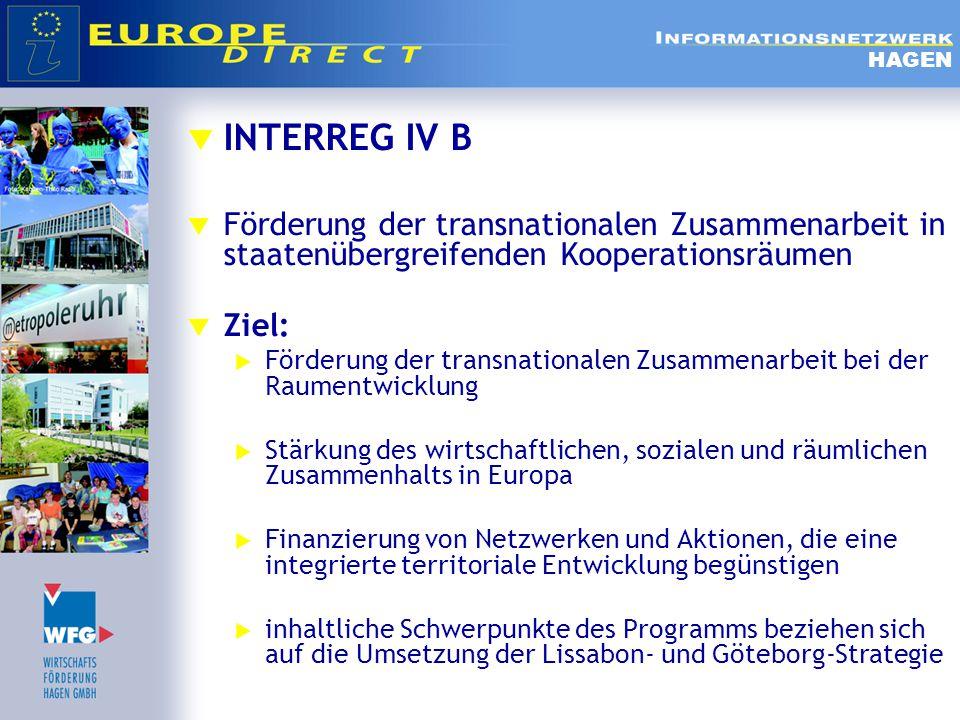  INTERREG IV B - Kooperationsräume HAGEN