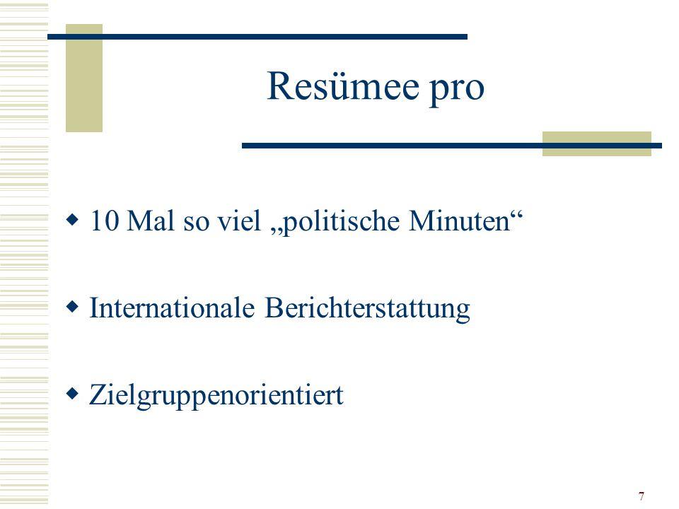 "7 Resümee pro  10 Mal so viel ""politische Minuten  Internationale Berichterstattung  Zielgruppenorientiert"