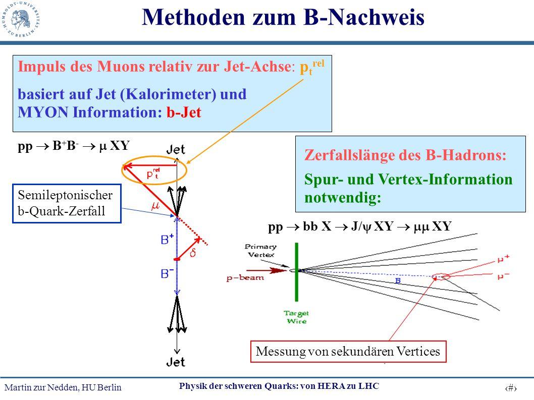Martin zur Nedden, HU Berlin 14 Physik der schweren Quarks: von HERA zu LHC Methoden zum B-Nachweis Impuls des Muons relativ zur Jet-Achse: p t rel ba