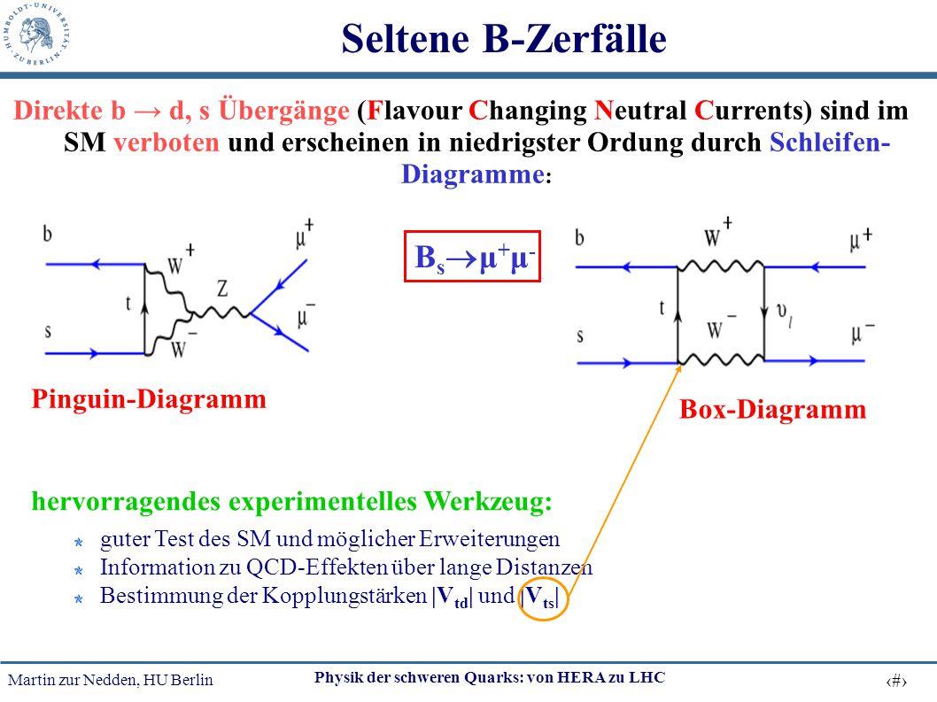 Martin zur Nedden, HU Berlin 15 Physik der schweren Quarks: von HERA zu LHC Direkte b → d, s Übergänge (Flavour Changing Neutral Currents) sind im SM