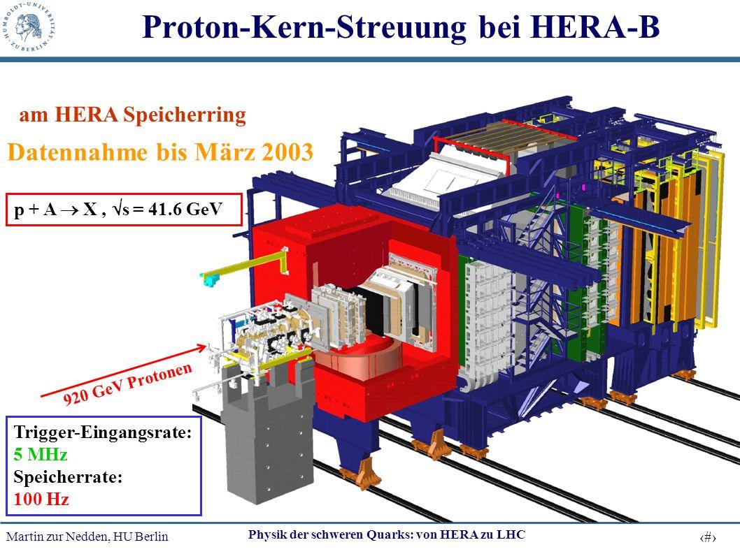 Martin zur Nedden, HU Berlin 17 Physik der schweren Quarks: von HERA zu LHC 920 GeV Protonen p + A  X,  s = 41.6 GeV Proton-Kern-Streuung bei HERA-B